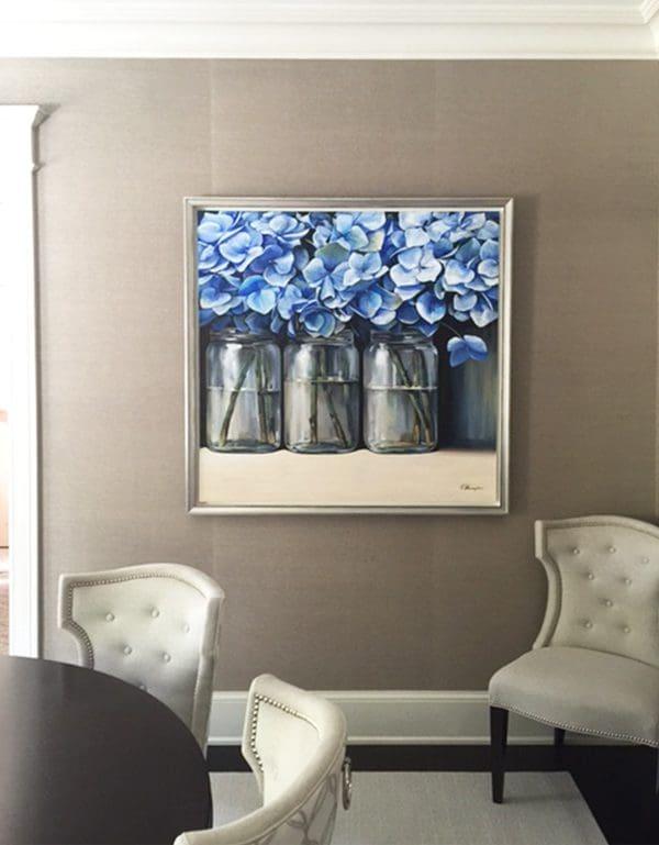 """Miagkov, """"Azure Trio"""", Oil on Canvas, 48 x 48 in."""