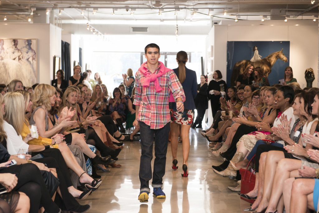 """The show was not simply women's fashion, here Ben, another Kennedy Krieger """"alum"""" models young men's fall fashion"""