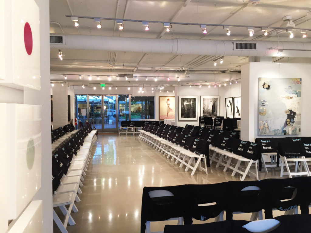 A shot of the gallery's pre-event set up.