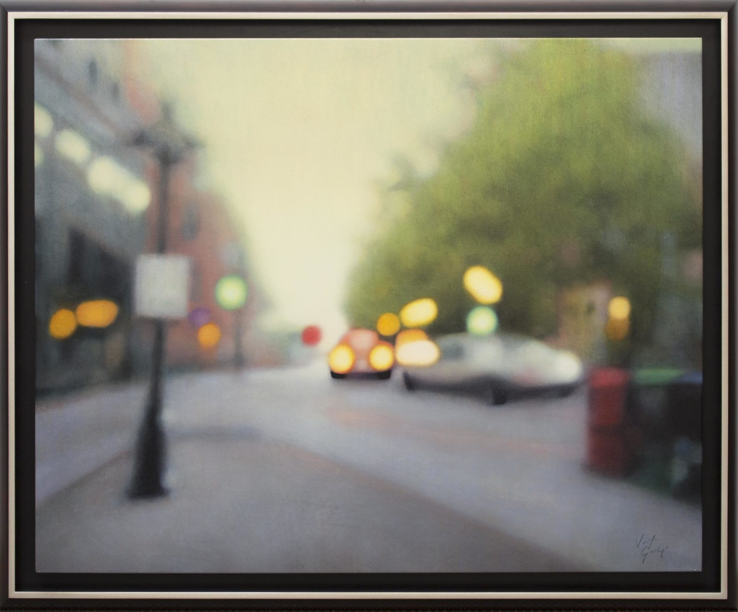 """George, """"City Lights"""", Oil on Canvas, 40 x 50 in."""