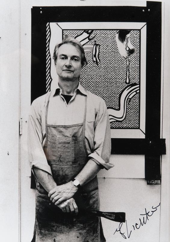 Roy Lichtenstein, Photograph of the Artist in his Studio, Signed