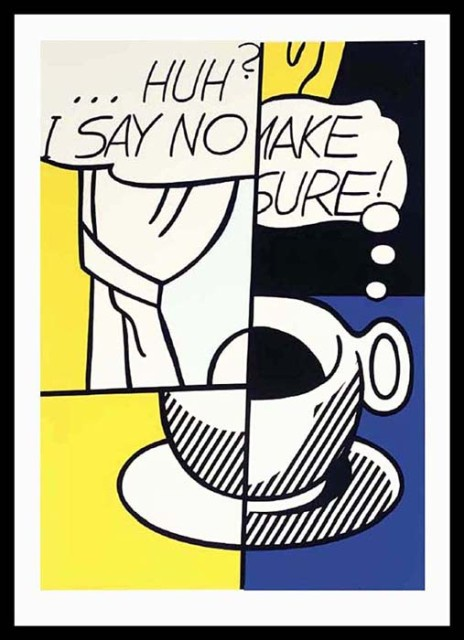 "Lichtenstein, ""No, Huh,"" Limited Edition Color Screenprint"