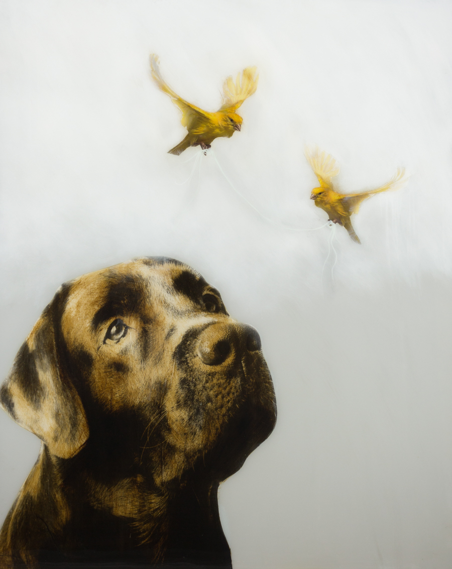 Anke, Dog with Birds and String, Mixed Media on Wood, 60 X 48 in.