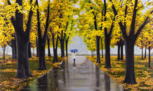 "Palmer, ""A Walk in the Rain,"" Acrylic on Canvas, 36 x 60 in."