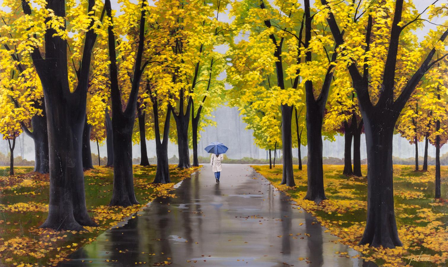 "Palmer, ""A Walk in the Rain,"" Acrylic on Canvas, 36 x 60 in."