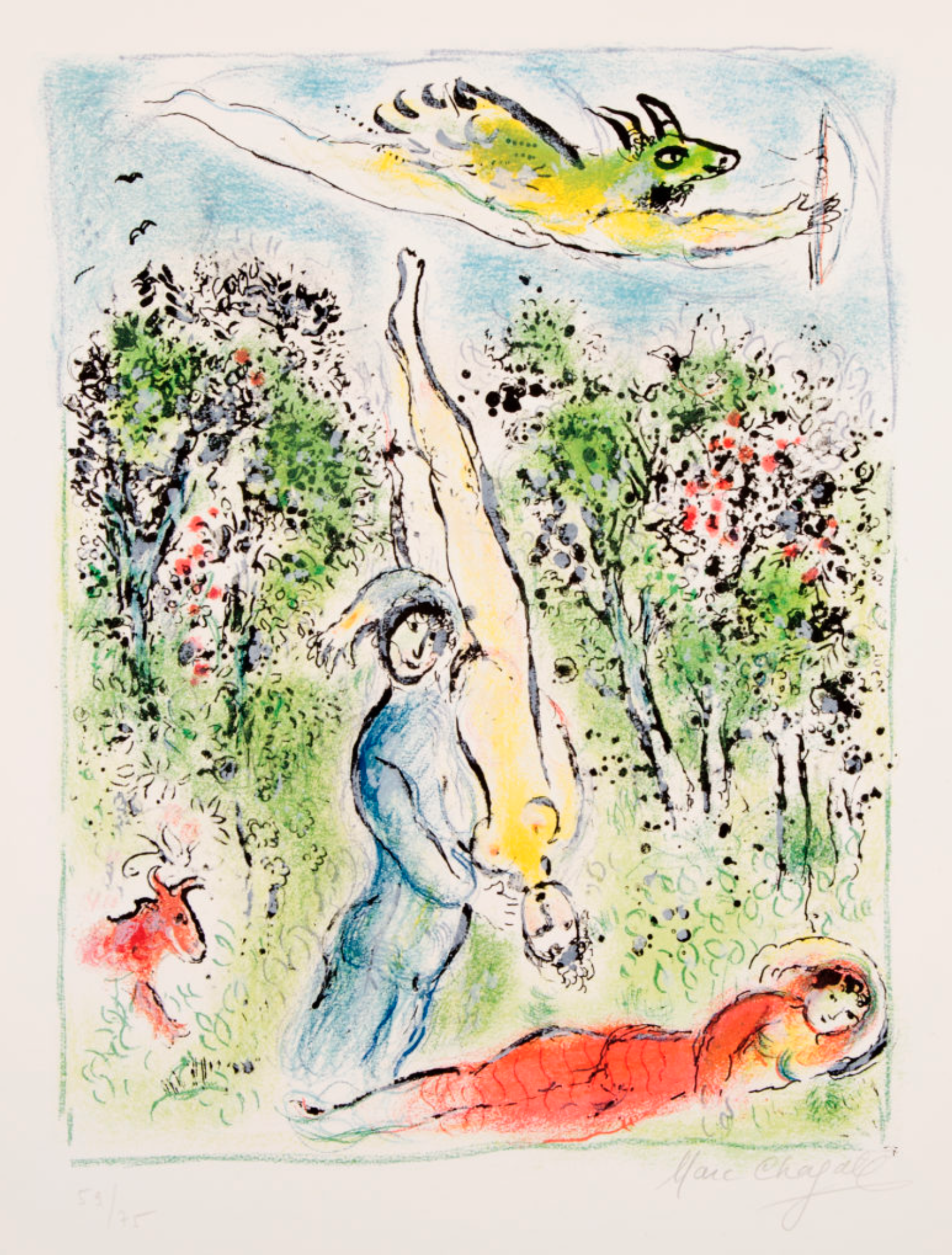 "Chagall, ""Land of the Gods X"" Lithograph, 25 x 20 in."