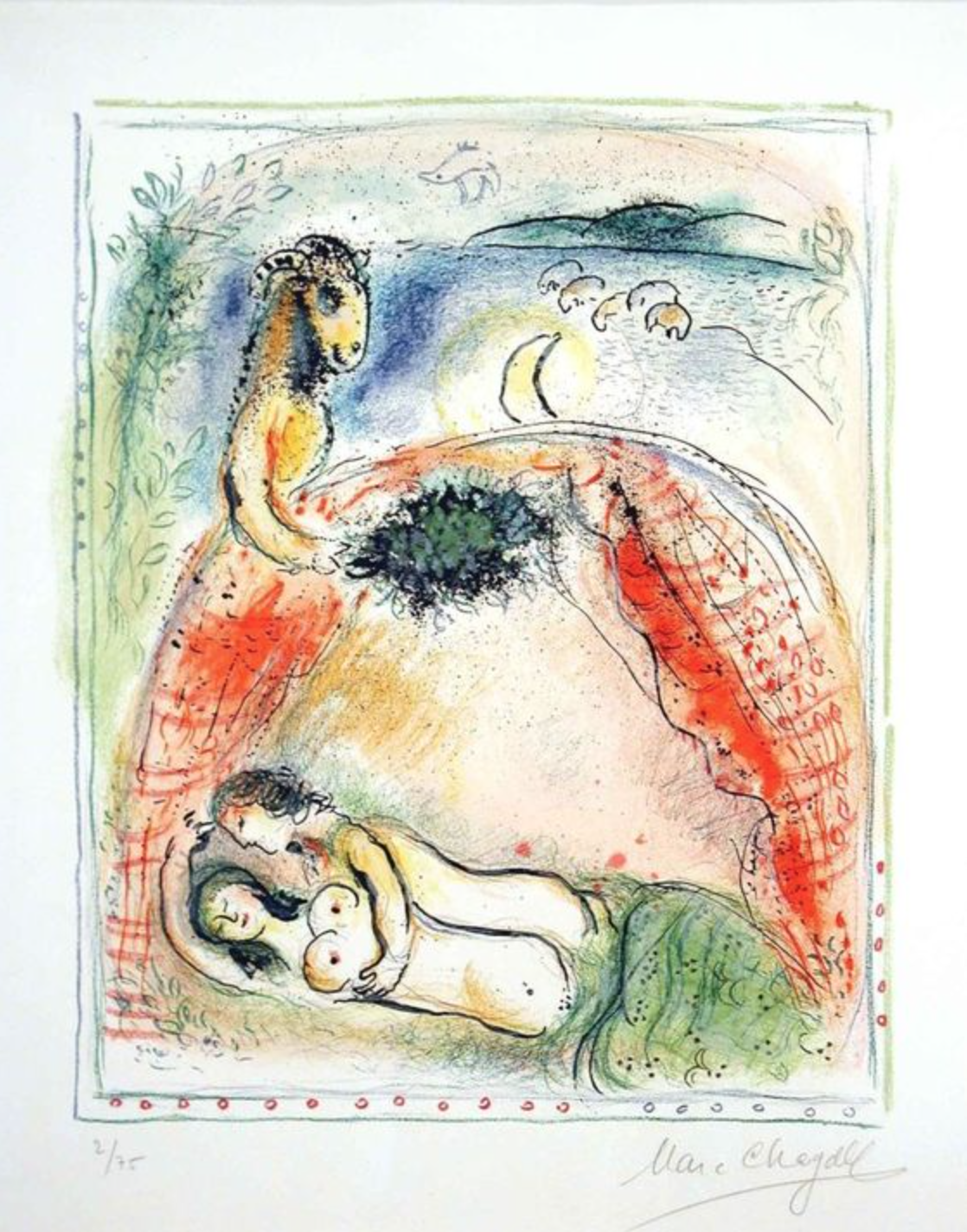 "Chagall, ""Land of the Gods X,"" Lithograph, 25 x 20 in."