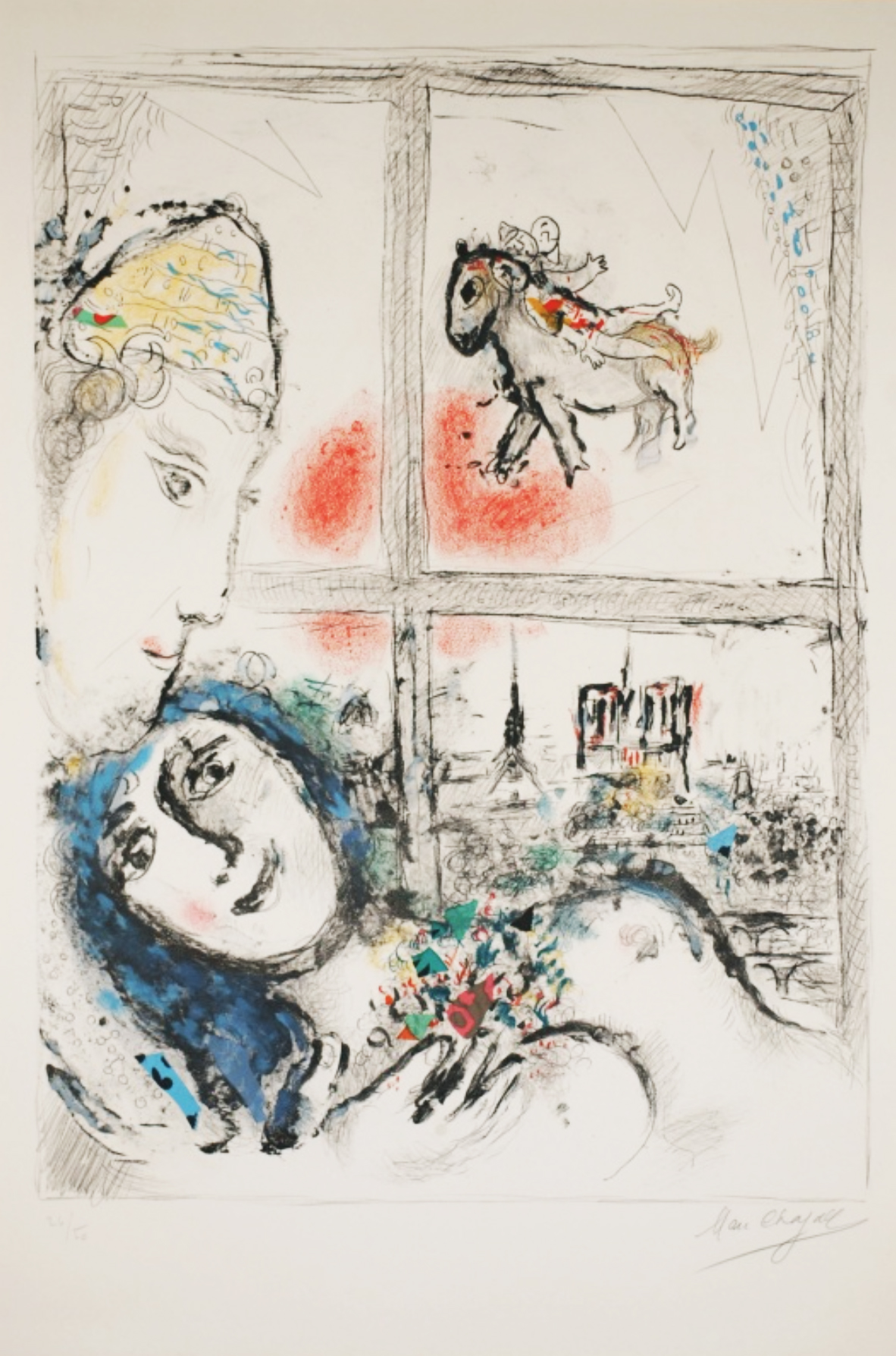 "Chagall, ""Paris From My Window,""Lithograph, 40 x 30 in."
