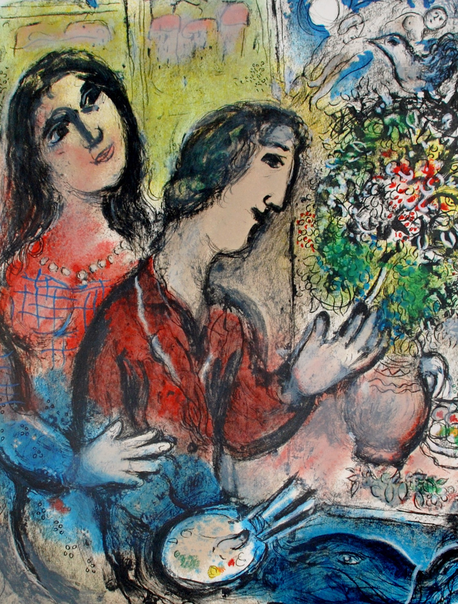 "Chagall, ""The Artist's Wife,"" Gouache on Paper, 29 x 22.25 in."