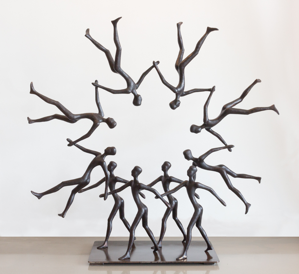 """Tolla, """"Circle of Life,"""" Bronze, 36.5 x 39 x 13 in."""