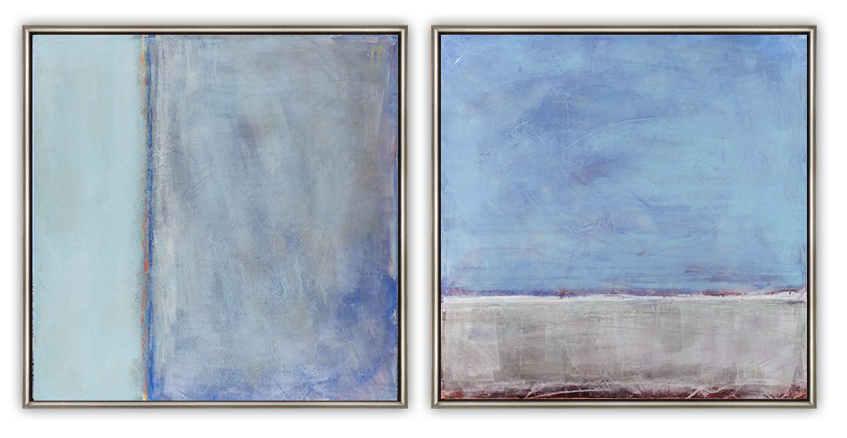"""Erickson, """"All to Myself"""" series, Oil and Wax on Panel, 24 x 24 in. each"""