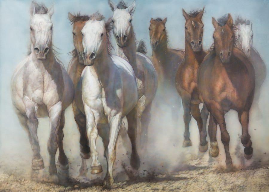 "Hare, ""Unbroken,"" Acrylic on Canvas, 60 x 84"
