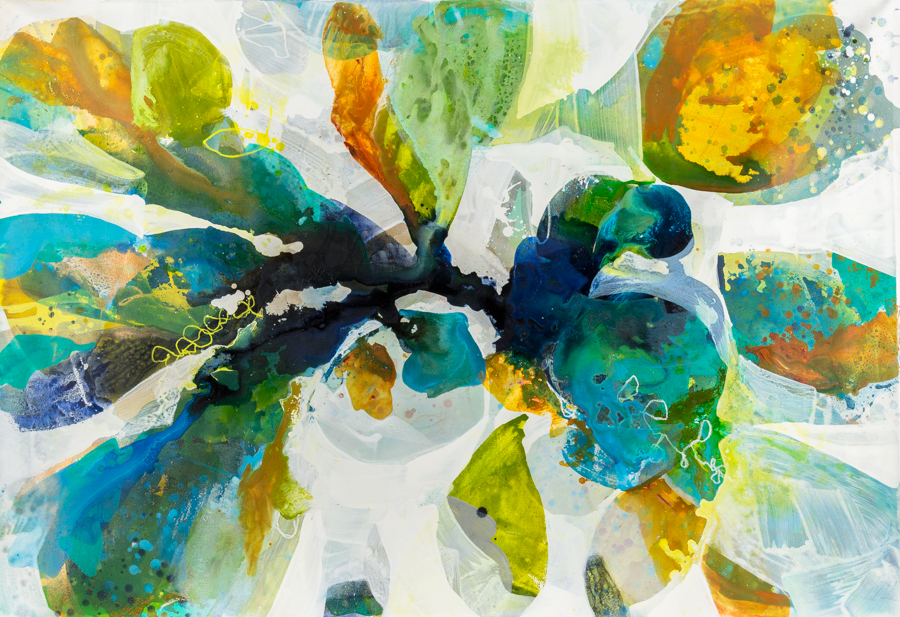 """Barber-Leventhal, """"Tree Blooms 7,"""" Mixed Media on Canvas, 49.5 x 71.5 in."""