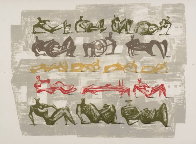 "Moore, ""17 Reclining Figures with Architectural Background,"" Lithograph"
