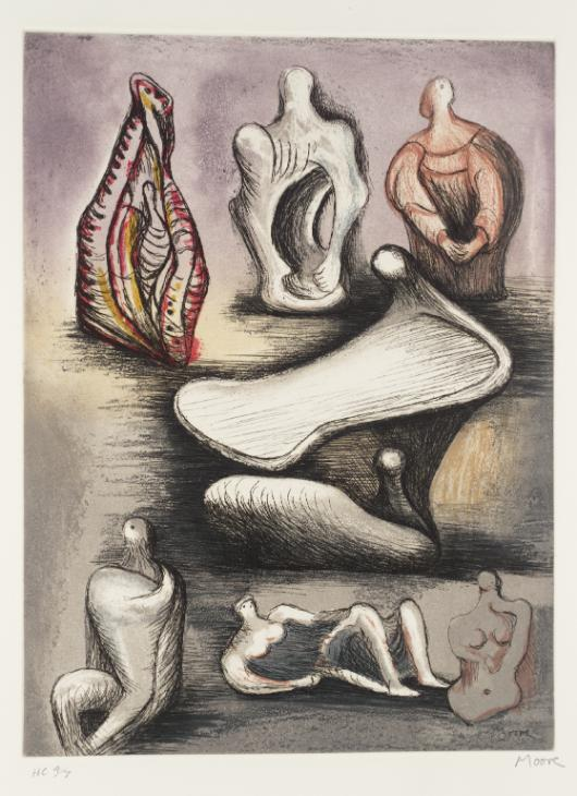 "Moore, ""Seven Sculpture Ideasm"" Lithograph"