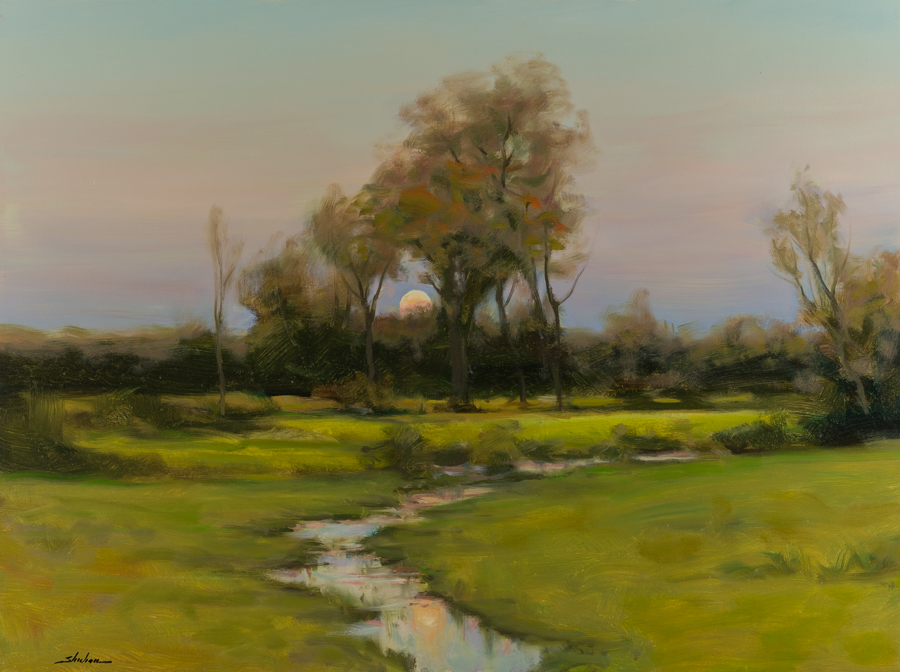 "Sheehan, ""In The Clearing,"" Oil on Canvas, 30 x 40 in."