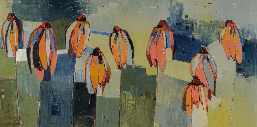 """Belassen, """"Nine,"""" Oil on Canvas, 36 x 72 in."""