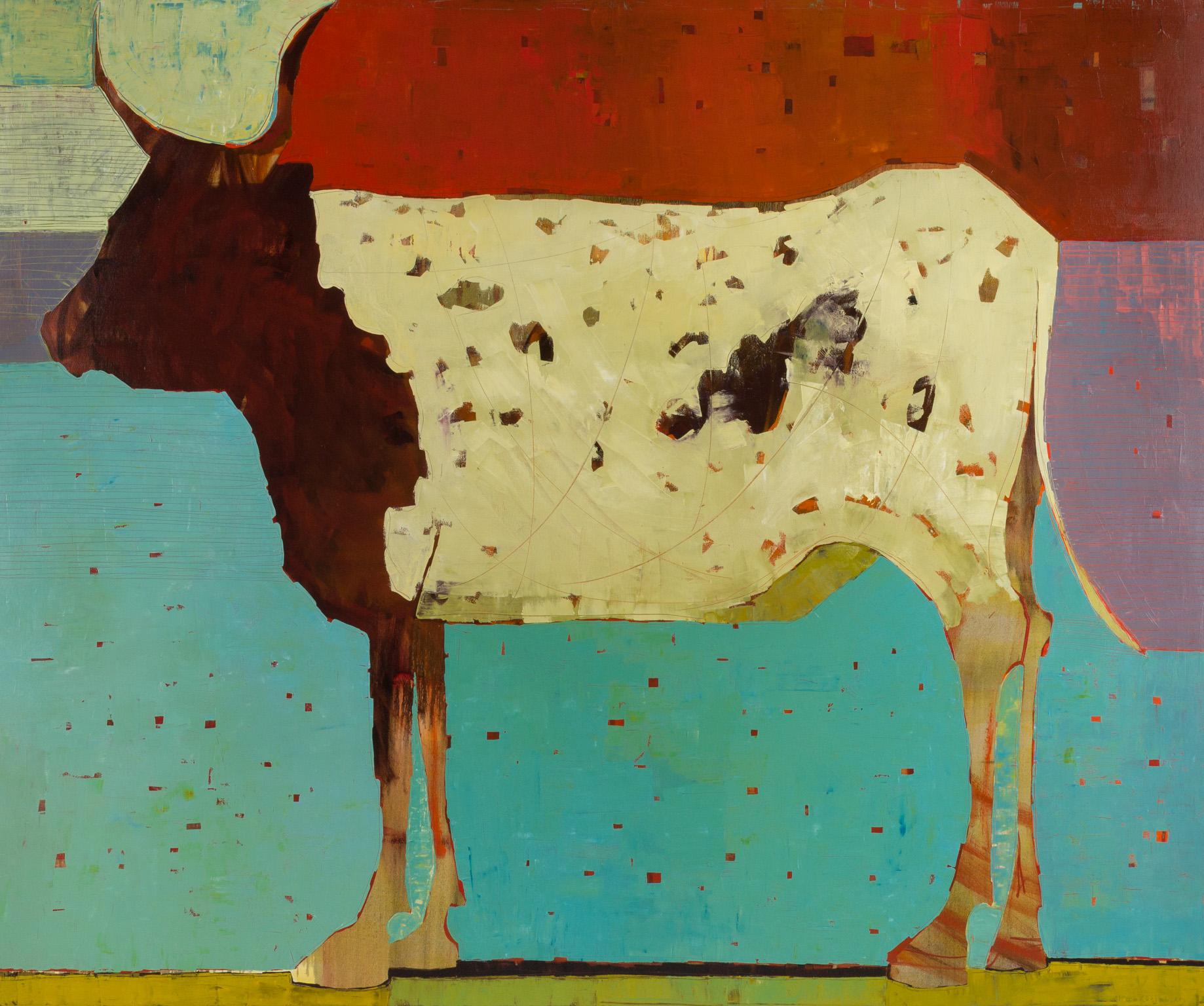 "Belassen, ""Retro Vache,"" Oil on Canvas, 60 x 72 in."