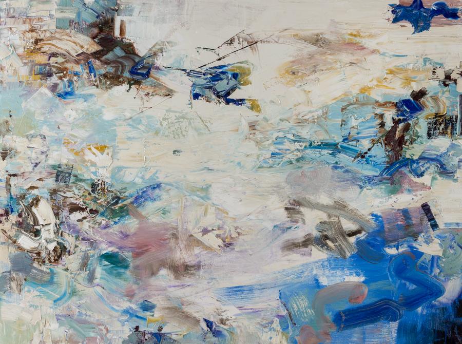 "Hayman, ""Blue Curl,"" Oil on Canvas, 36 x 48 in."