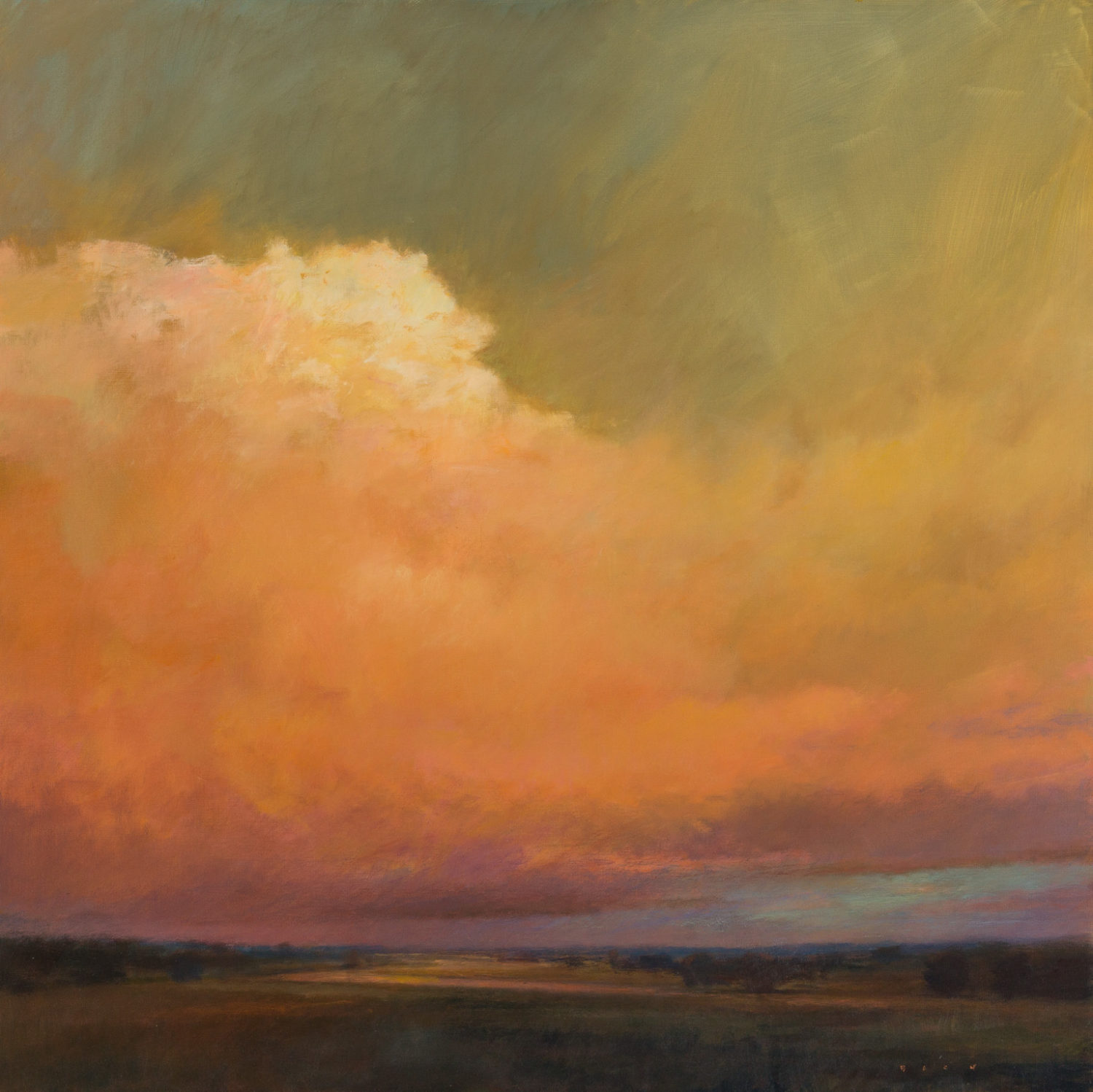 "Bach, ""Across a Red Sky,"" Oil on Canvas, 36 x 36 in."