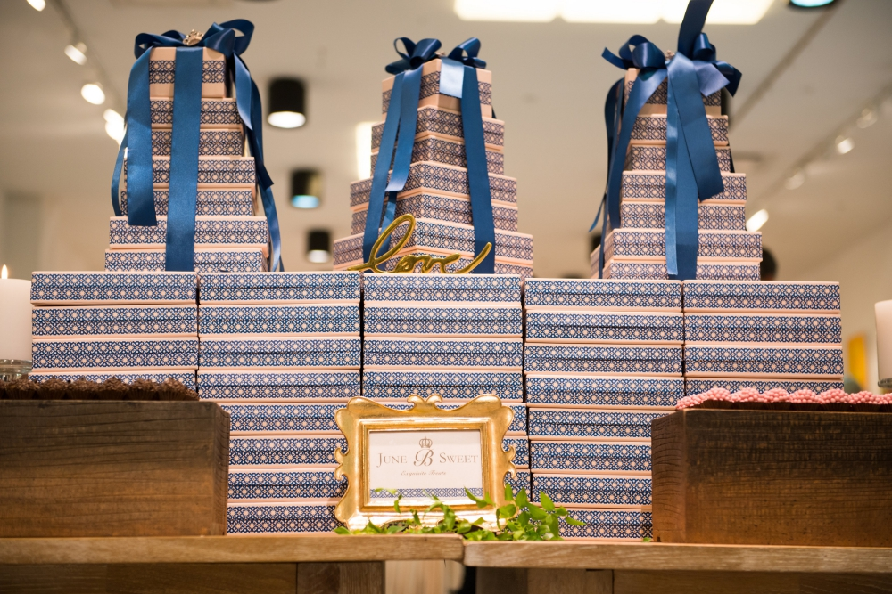 A beautiful display of June B Sweet boxes designed by Portuguese blue porcelain and the Brazilian imperial crown