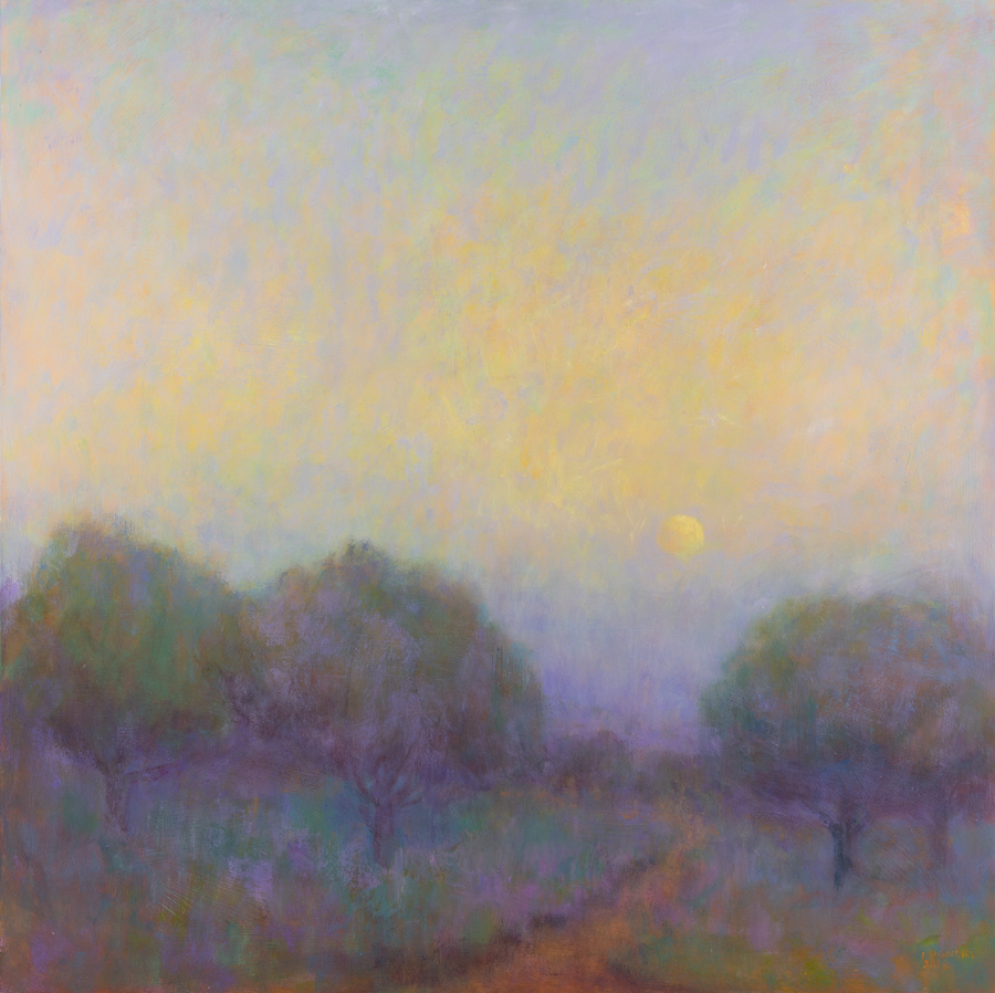 "Signori, ""Moonset,"" Oil on Board, 36 x 36 in."