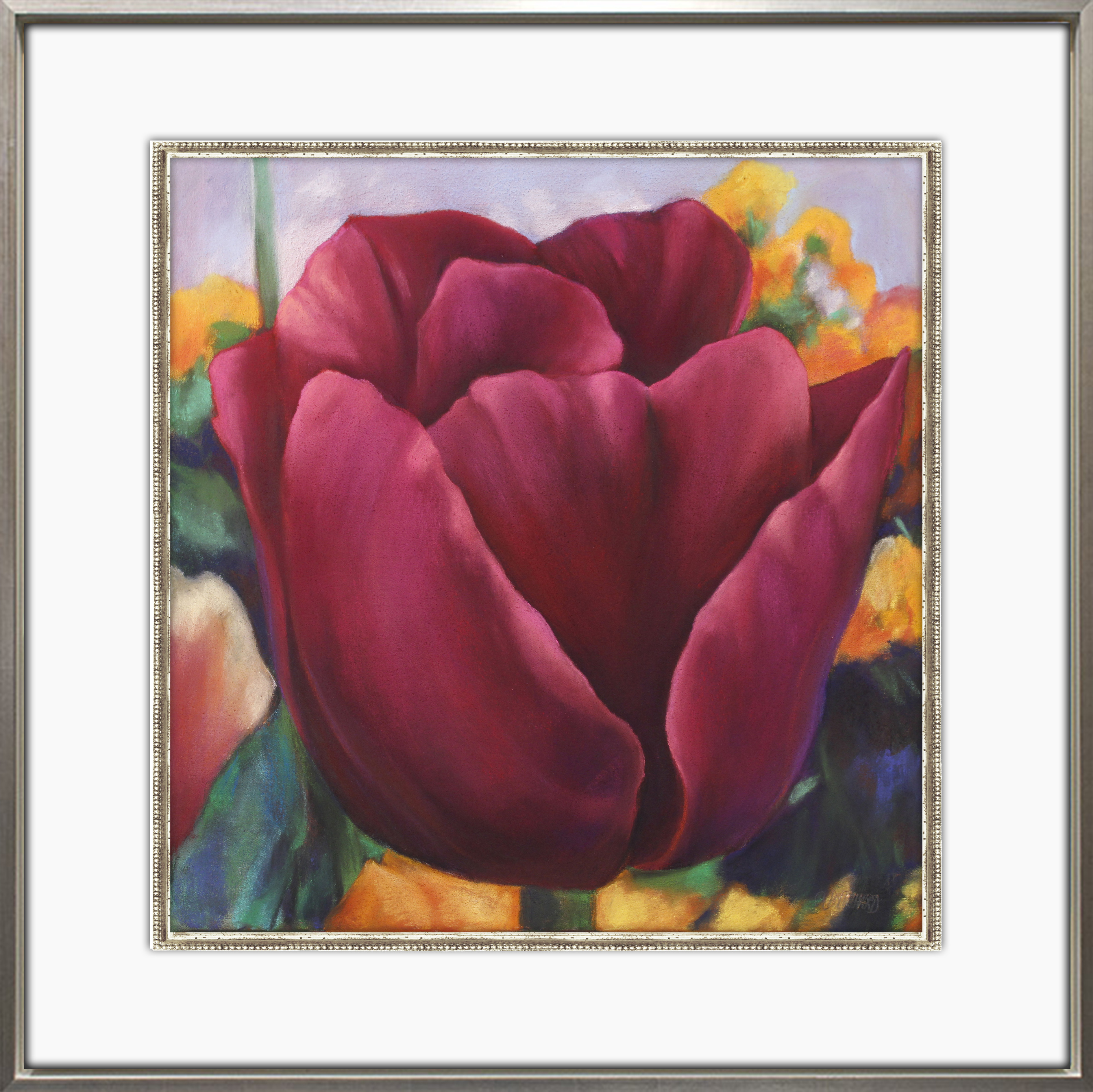 "Pritchard, ""Tulip IV,"" Pastel  on Canvas, 28 x 28 in."