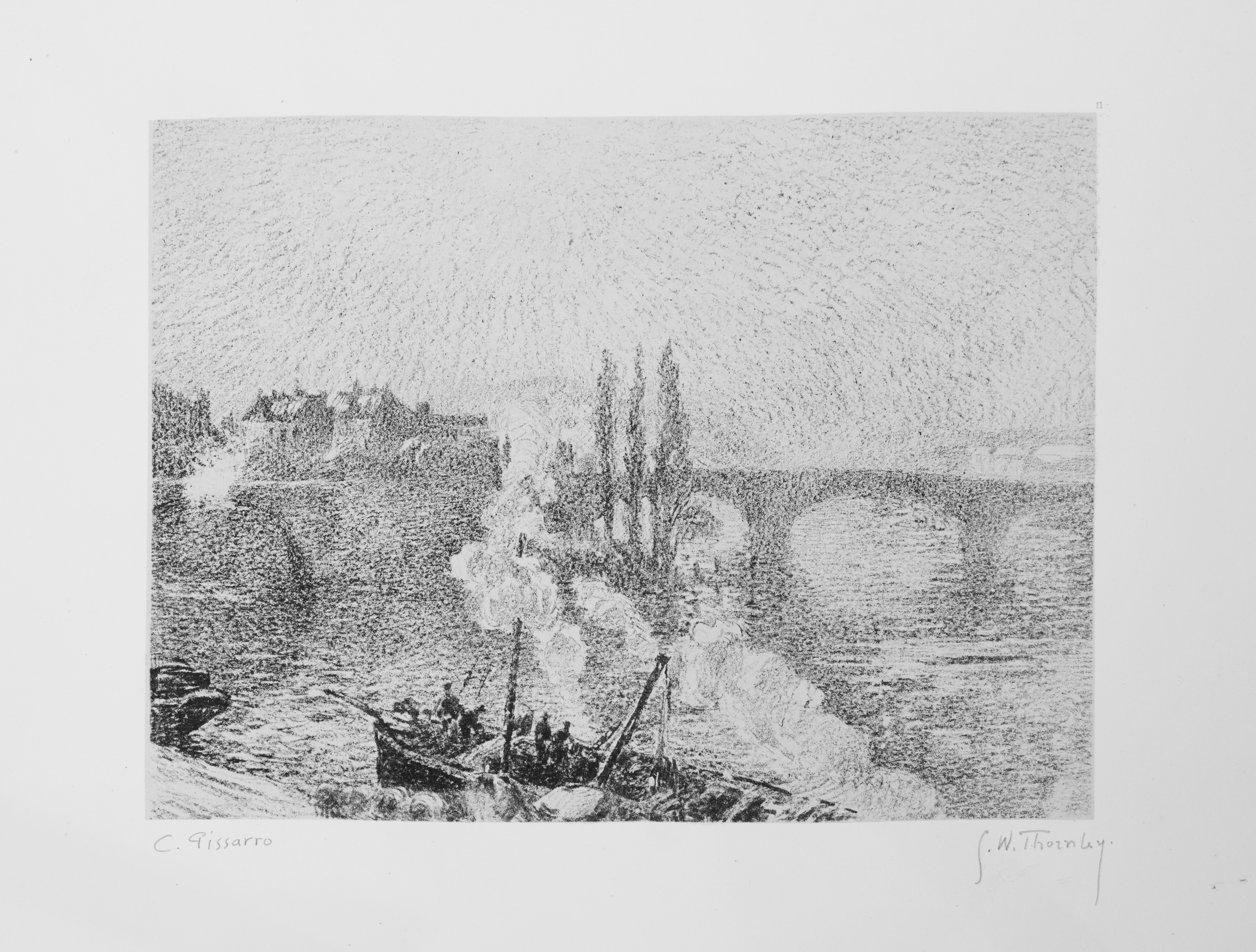 "Pissarro / Thornley, ""Ponts a Rouen,"" c. 1900, Lithograph, 8 1/4 x 10 3/8 in."