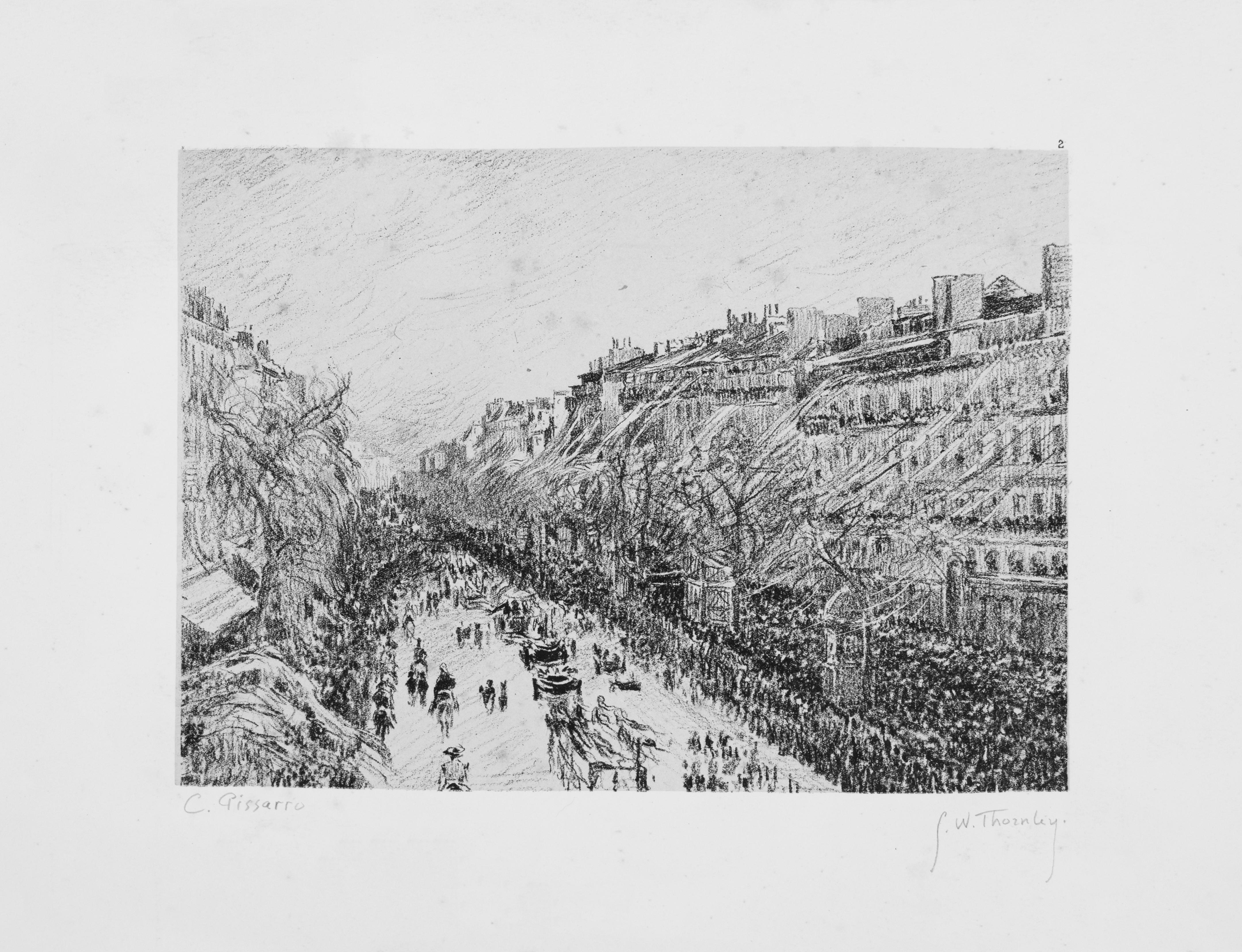 """Pissarro / Thornley, """"La Mi-Carême à Paris,"""" c. 1900, Lithograph, 8 x 10 in."""