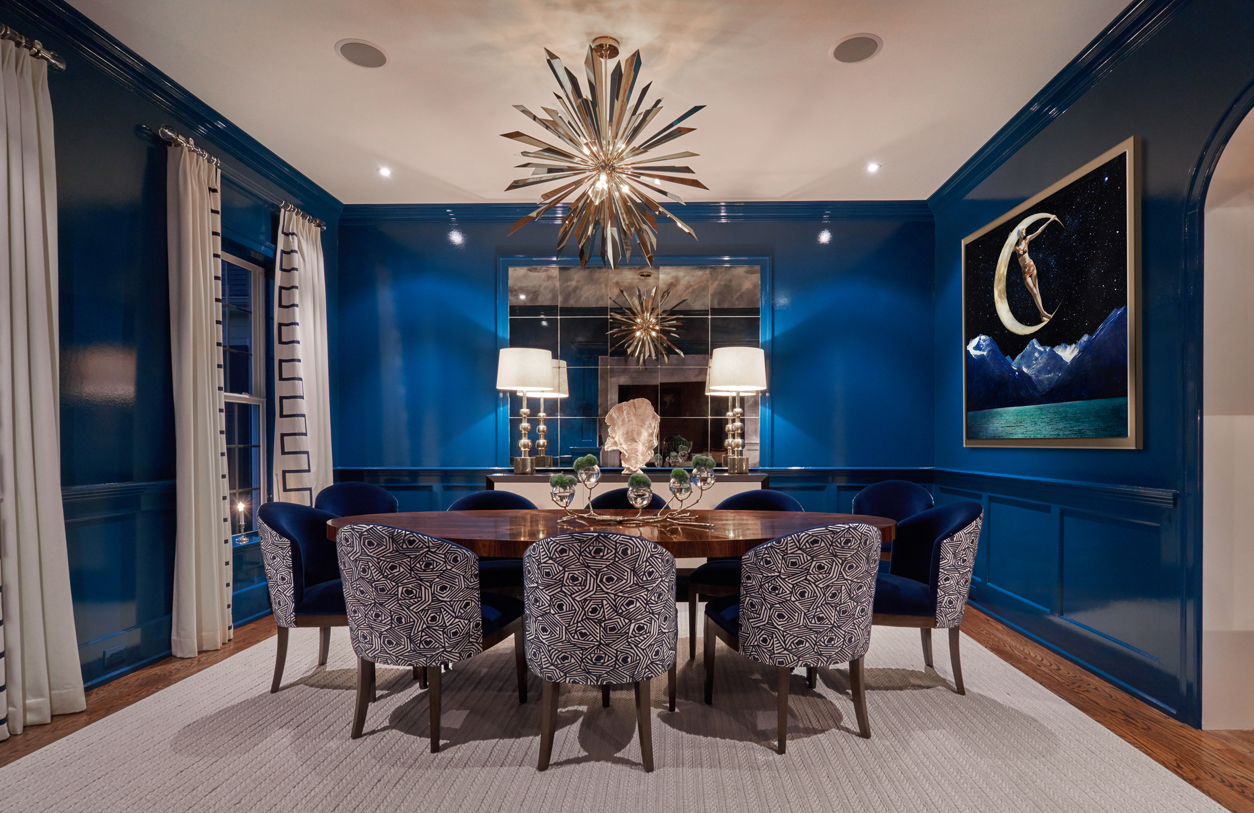 Lacquer walls, mokum fabric, keith fritz, artistic frame, vaughn lighting, antique mirror panels, curtain detail, blue lacquer, blue velvet, lucite window hardware