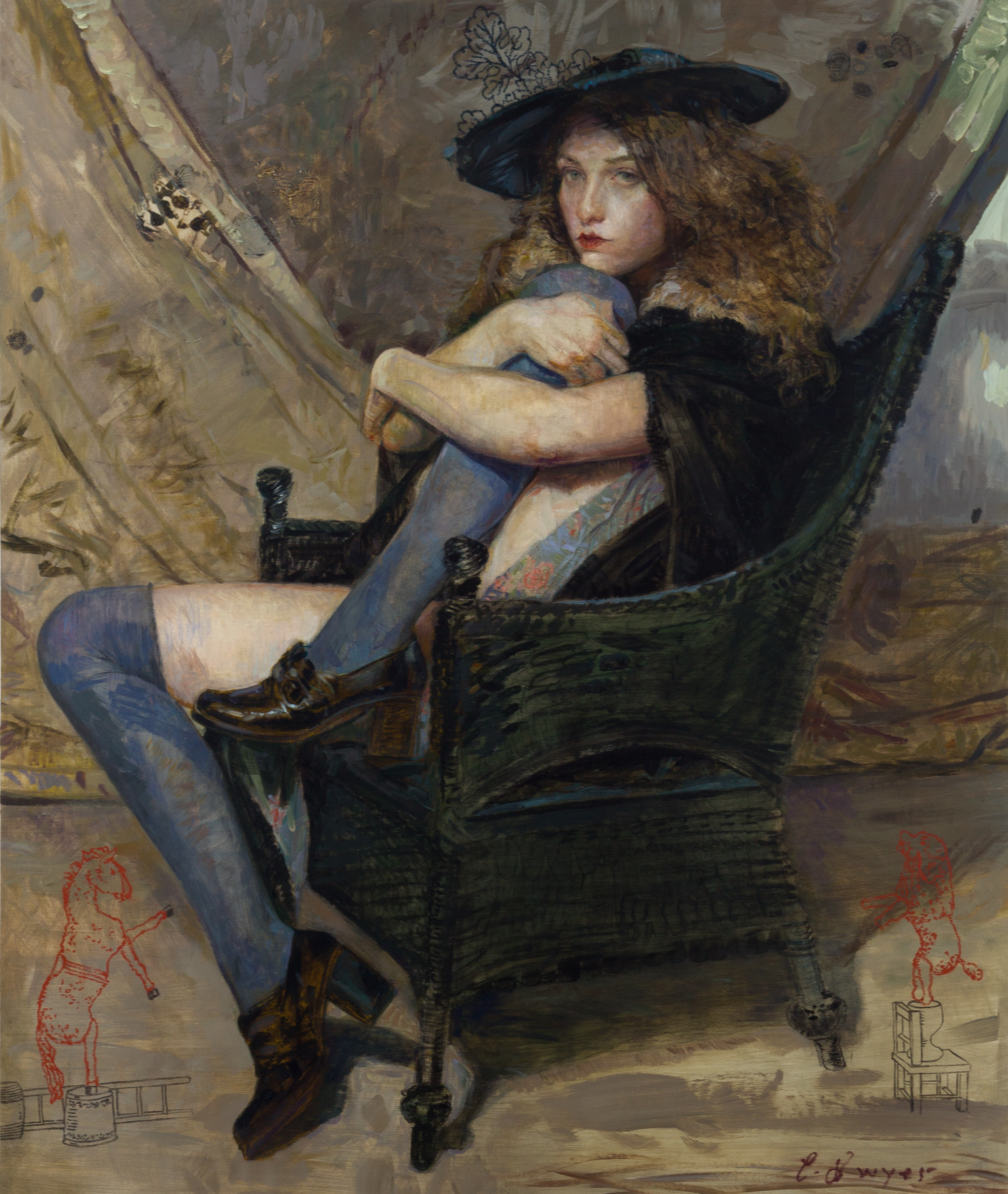 """Dwyer, """"Vera Seated,"""" Oil on Canvas, 53 x 44 in."""