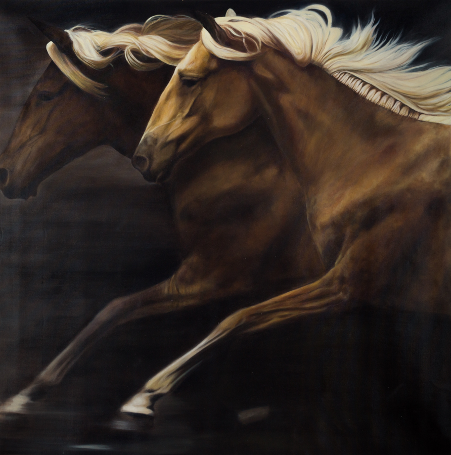 "Leroy, ""Wild Horses,"" Oil on Canvas, 60 x 60 in."