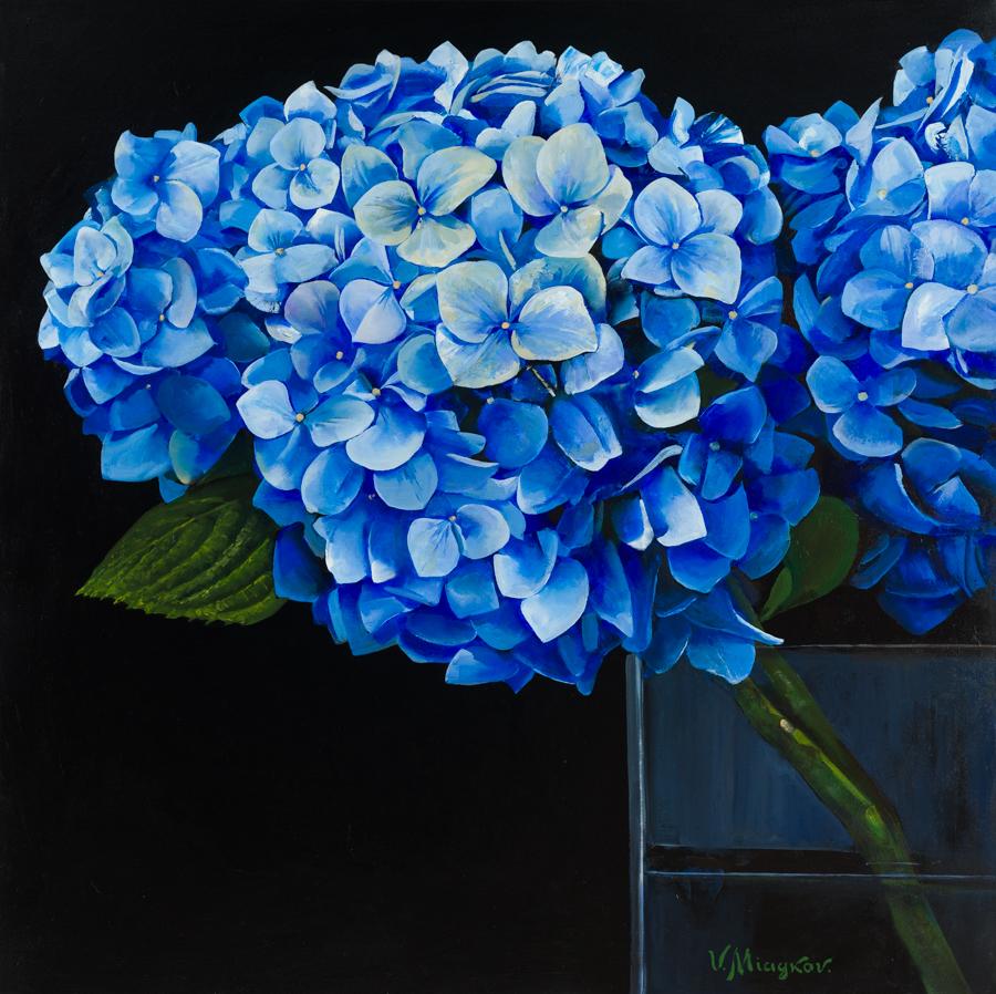 """Miagkov, """"Sapphire Pair,"""" Oil on Canvas, 48 x 48 in."""