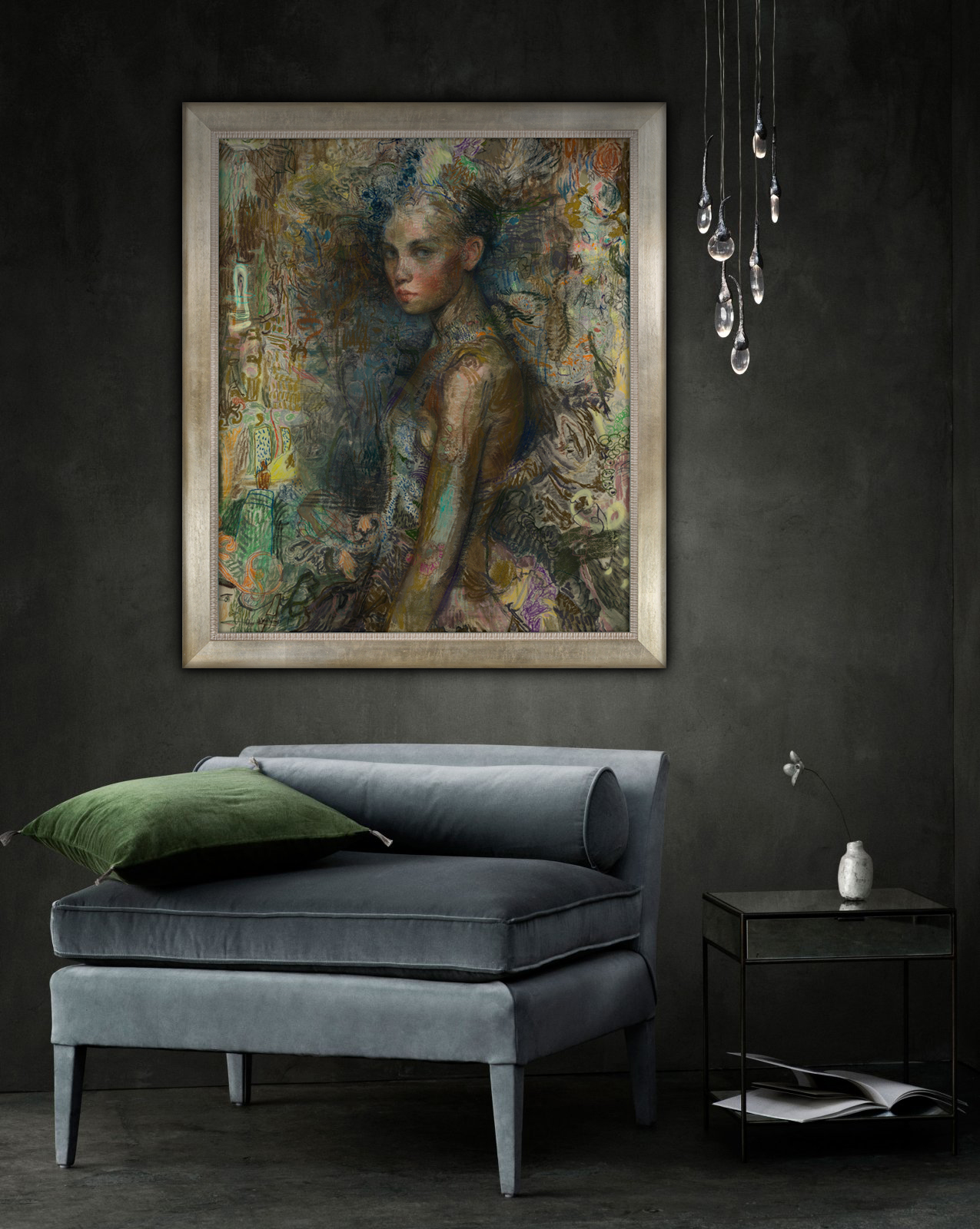 """Dwyer, """"La Danseuse,"""" Mixed Media on Canvas, 52 x 42 inches"""