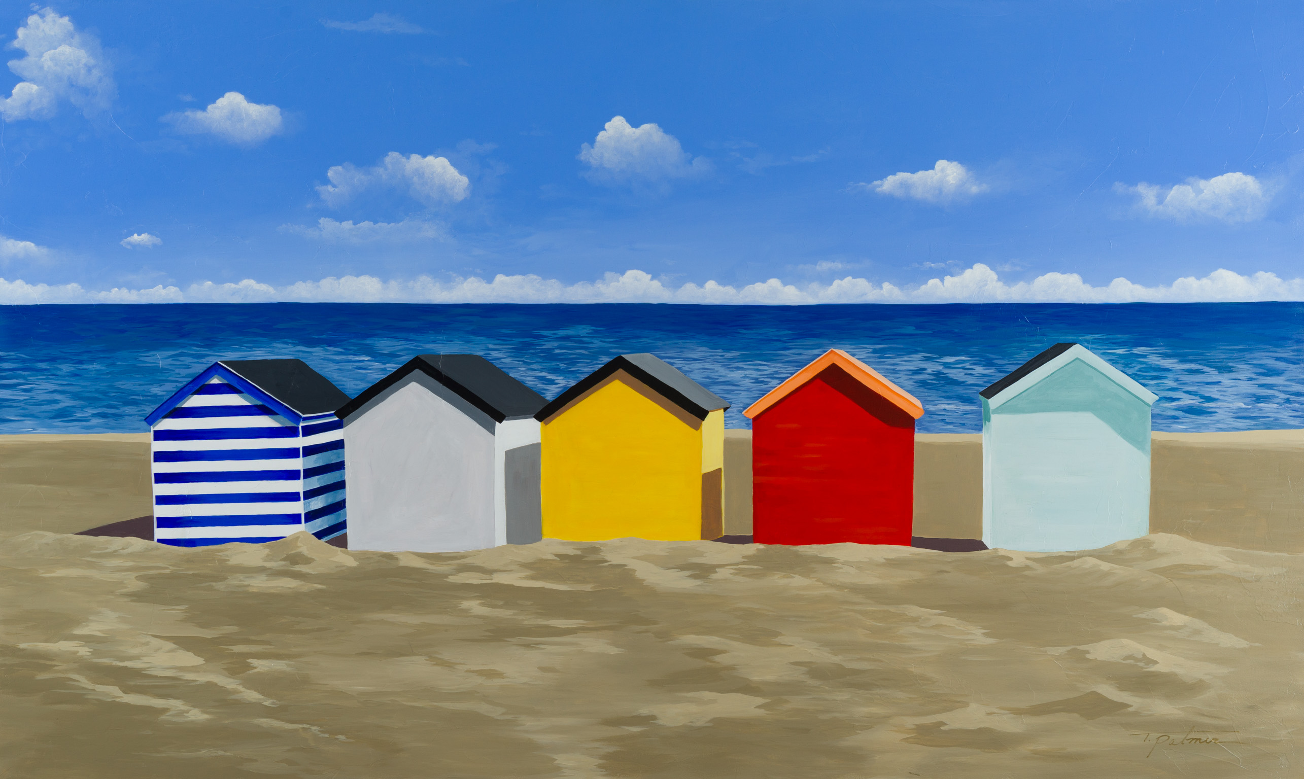 "Palmer, ""Beach Huts,"" Acrylic on Canvas, 36 x 60 in."