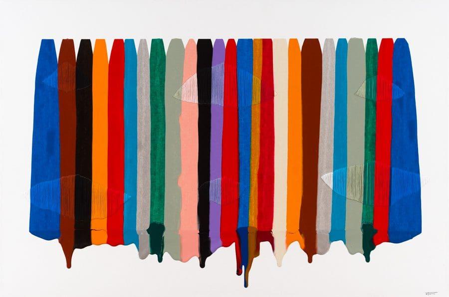"""De La Torre, """"Fils I Colors CCLXXXIX,"""" Mixed Media on Canvas, 30 x 45 in."""