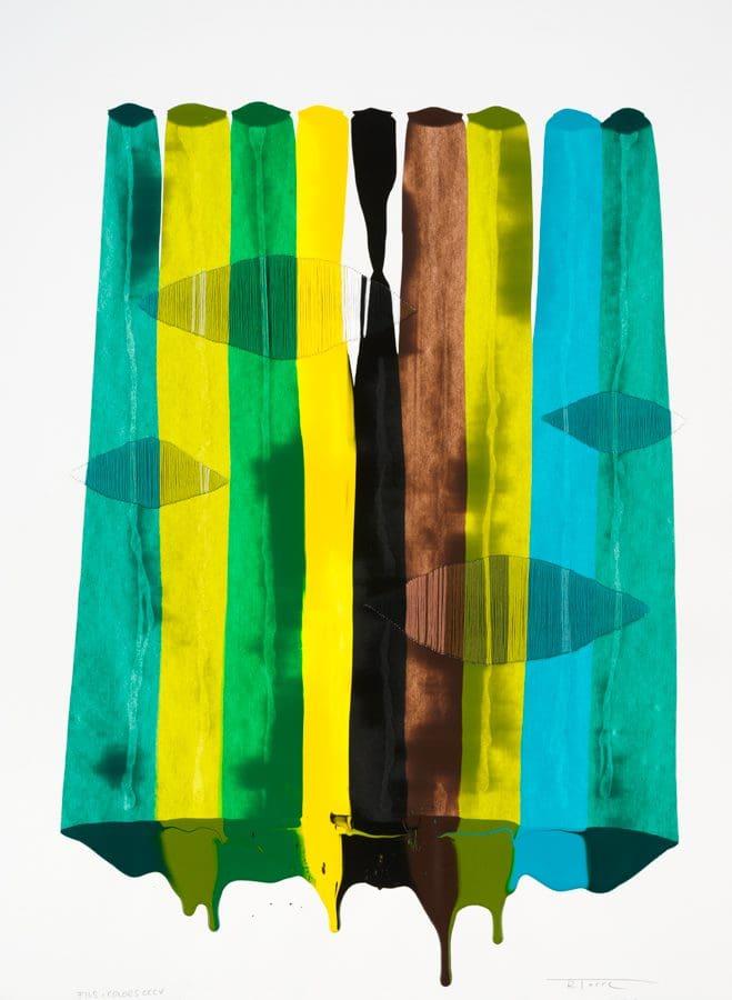 """De la Torre, """"Fils I Colors"""" series, Mixed Media on Paper, 30 x 23 in. each"""