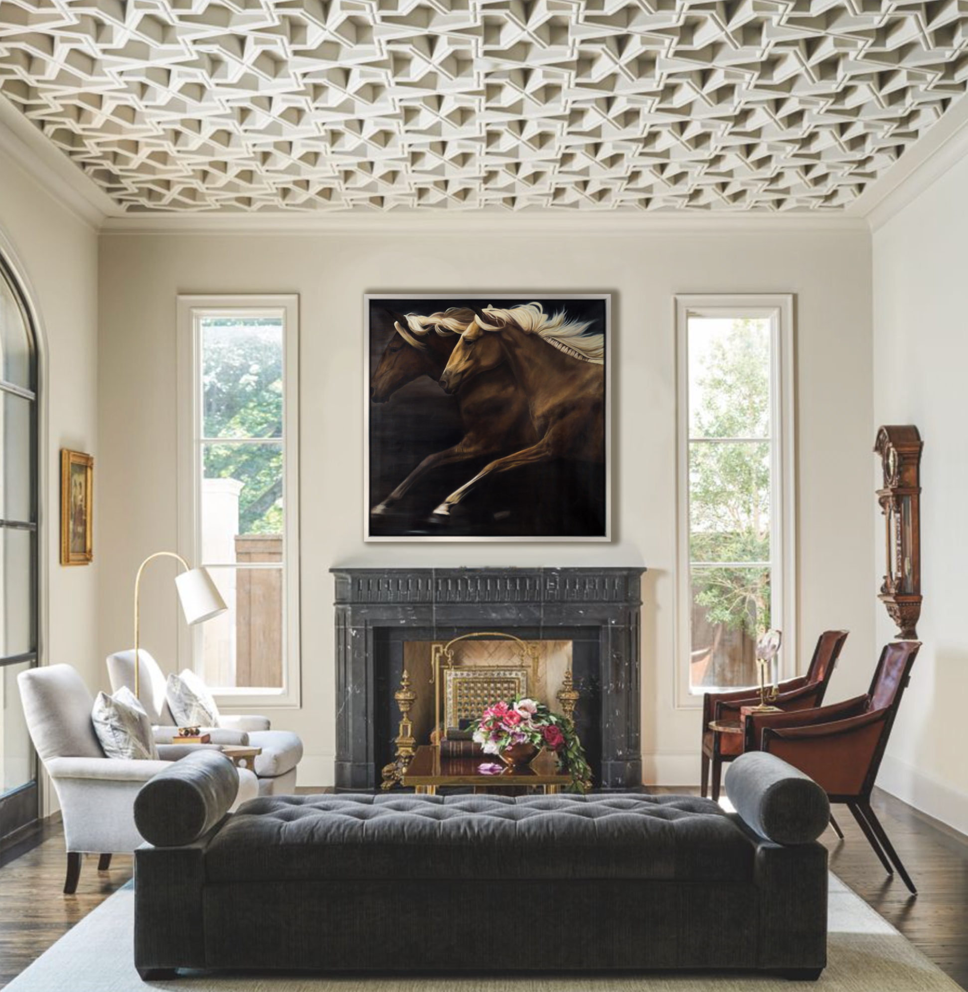leroy, wild horses, intricate ceiling