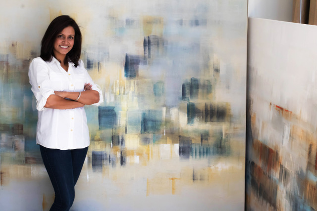 Shivani Dugar with her art (photo courtesy of the artist)