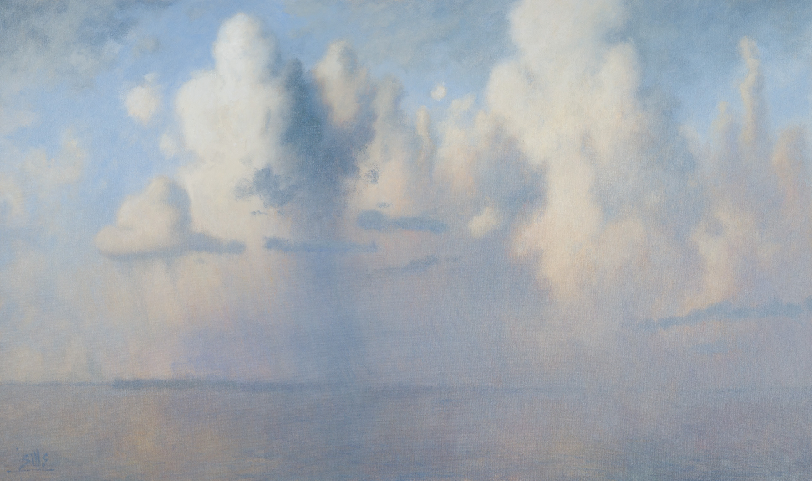 """John Sills, """"Rising Clouds"""", Oil on Canvas, 36 x 60 inches"""