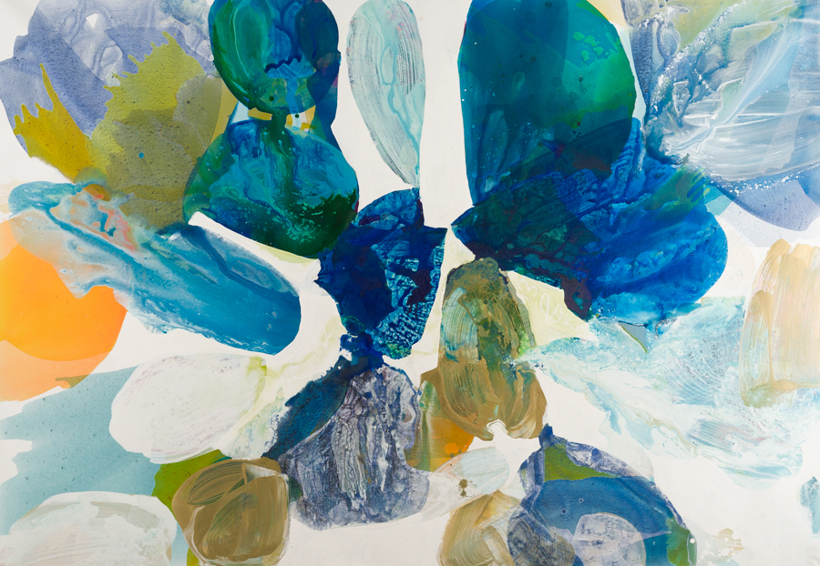 "Liz Leventhal, ""Water Petals 14"", Mixed Media on Canvas, 50 × 72 inches."