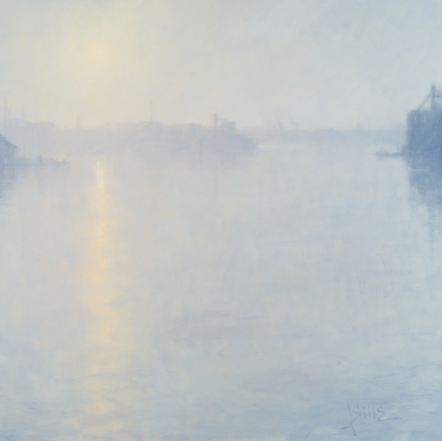 John Sills, Harbor Reflections, Oil on Canvas 36 × 36 inches