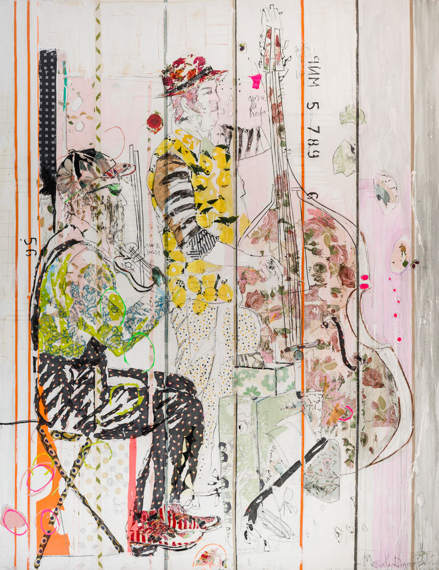 Teresa Calderon & Mersuka Dopazo, Making People Happy, Mixed Media on Canvas, 87 × 67 inches