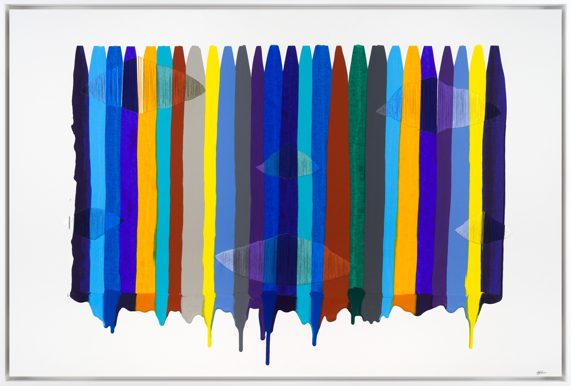 Raul de la Torre, Fils I Colors CCVCVI, Mixed Media on Canvas, 40 × 60 inches