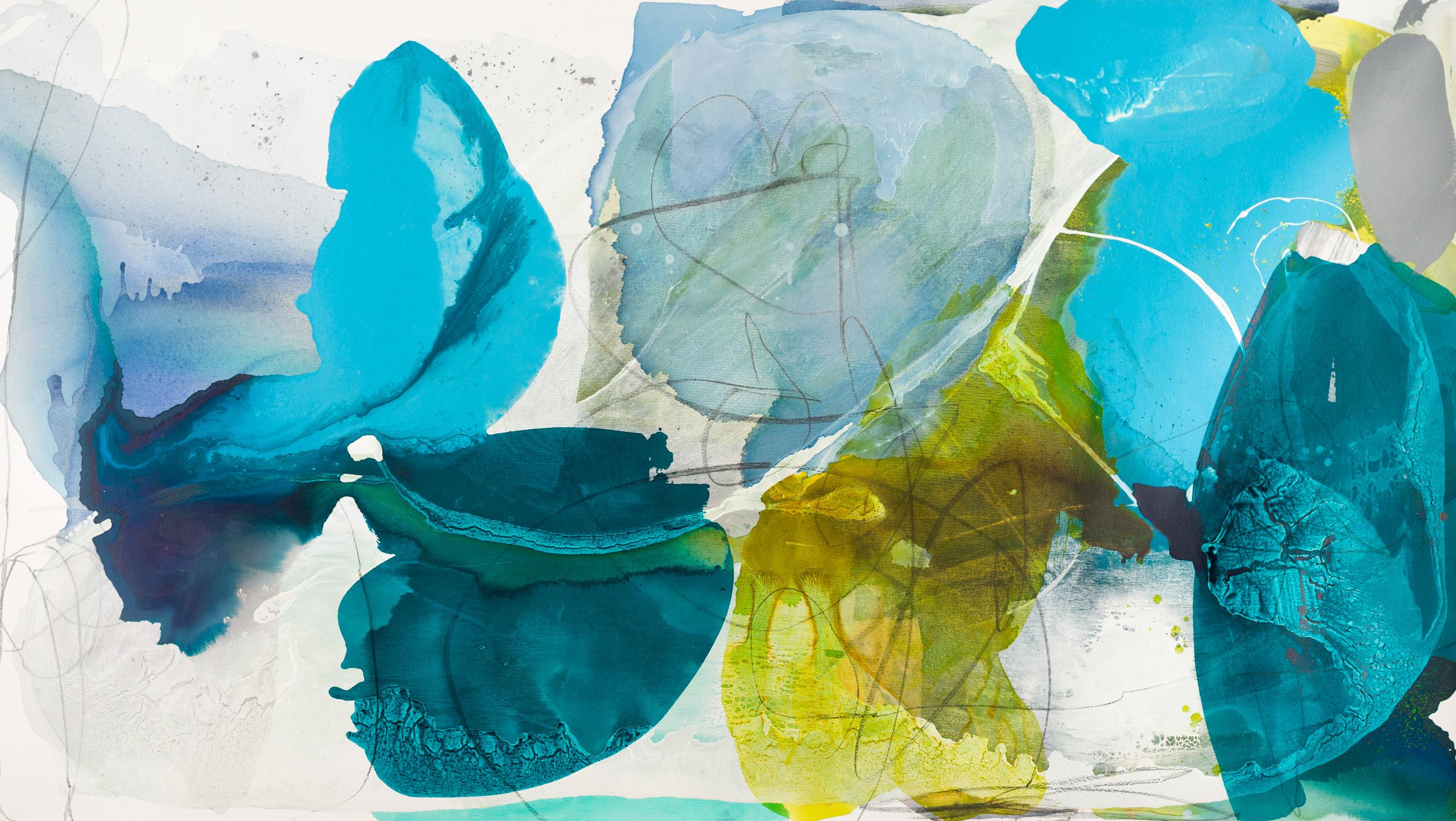 "Liz Leventhal, ""Petal Landscape"", Mixed Media on Canvas, 48 × 84 inches."