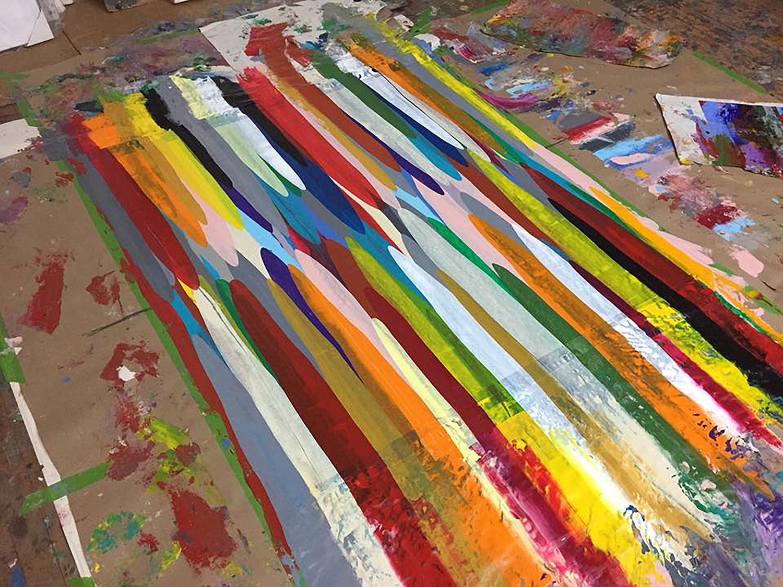 Raul de la Torre often layers vivid colors to form complex color palettes and compositions