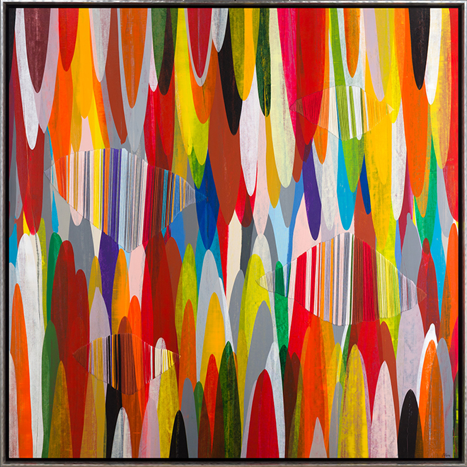 Raul de la Torre, Poemes LIX, Mixed Media on Canvas, 48 × 48 inches