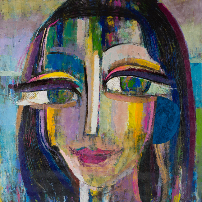 Zarin, Ame V, Mixed Media on Canvas, 52 × 50 inches